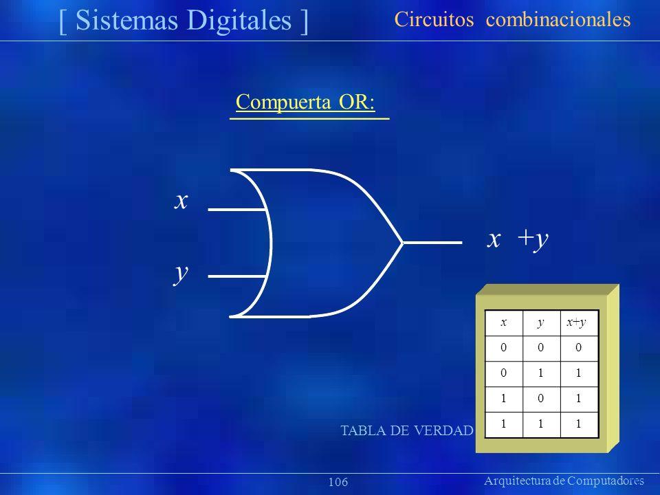 [ Sistemas Digitales ] x y Circuitos combinacionales Compuerta OR: